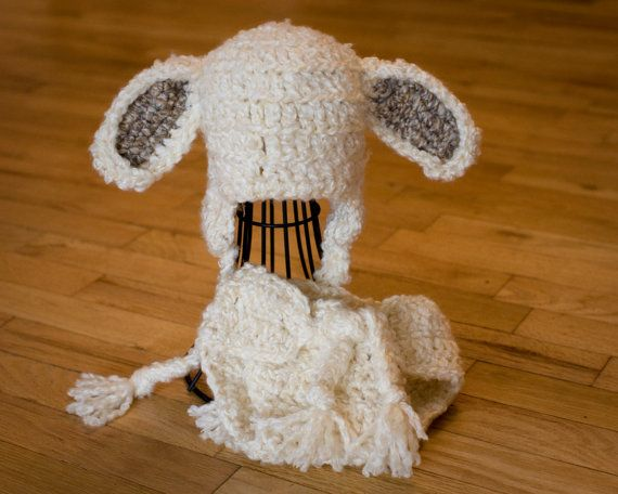 Lamb Baby Hat and Diaper Cover Toboggan Costume by TheTwistedK
