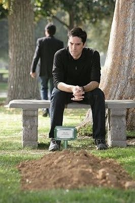 Aaron-Hotchner at Haley's grave site.