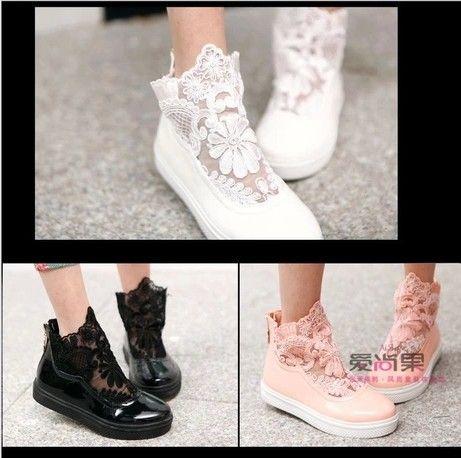 Barato a big girl mimigo casa na primavera de 2014 flor gancho de gaze ventilação sapatos pintura casual sapatos sapatas, Compro Qualidade Tênis diretamente de fornecedores da China: