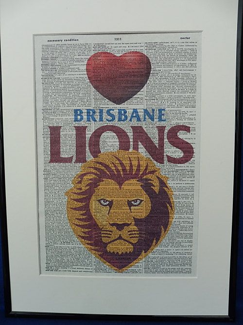 Brisbane Lions AFL Football Team Wall Art Print by DecorisDesigns