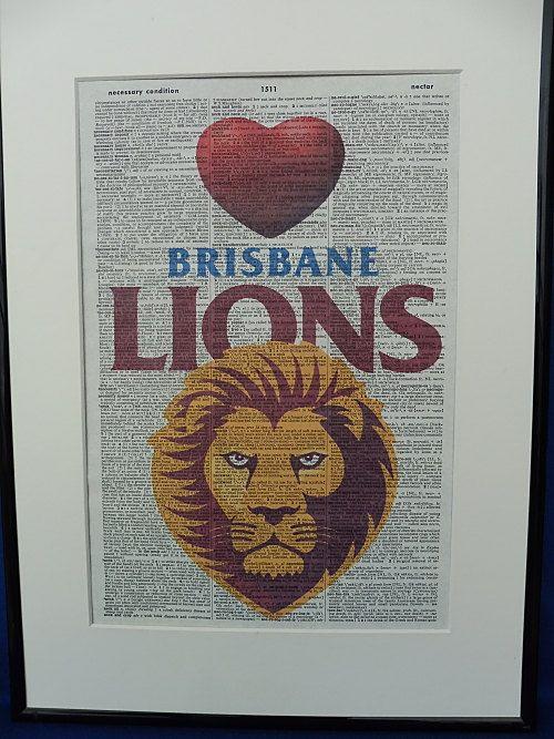 Man Cave Accessories Brisbane : Brisbane lions afl football team wall art print by