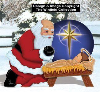 Plywood Christmas Yard Decoration Patterns | Santa & Elves - Santa with Baby Jesus Wood Pattern