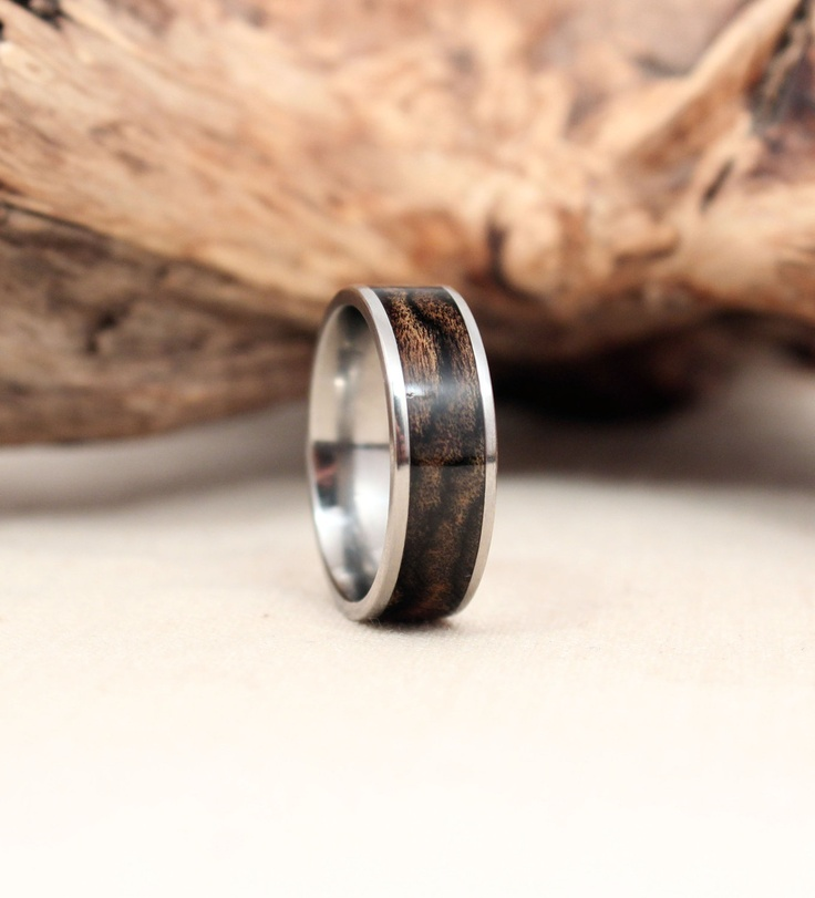 Titanium and Black and White Ebony Wooden Ring Titanium Ring. $225.00, via Etsy.