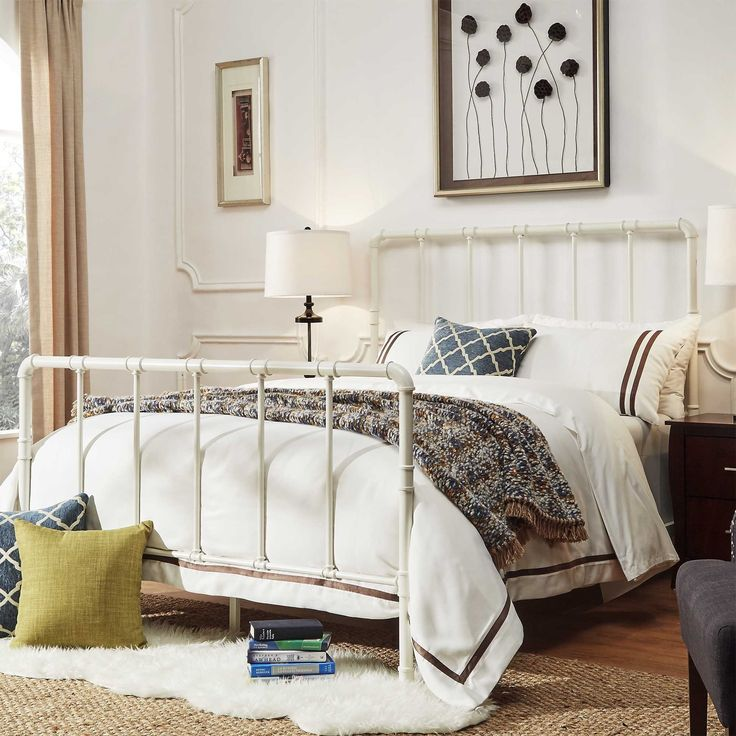 west antique industrial lines iron metal bed by inspire q classic white