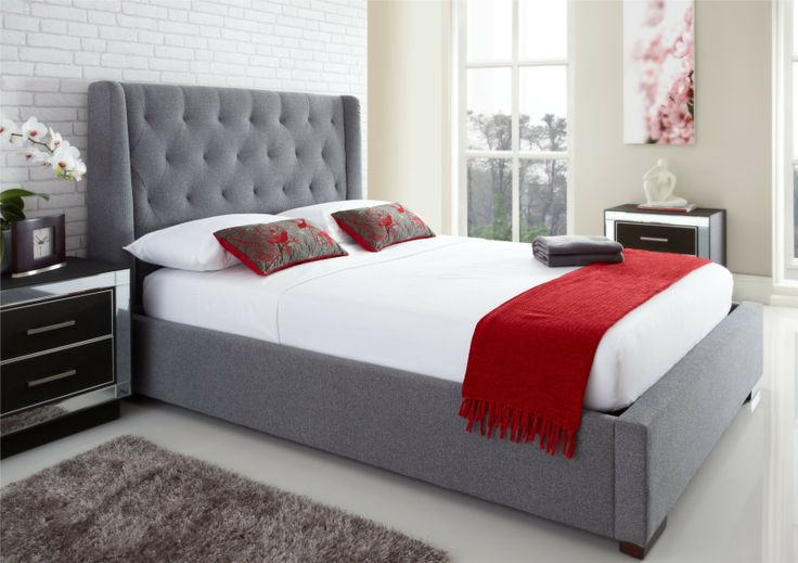 Ottomans Richmond White Ottoman: Richmond Upholstered Winged Ottoman Storage Bed In Grey £