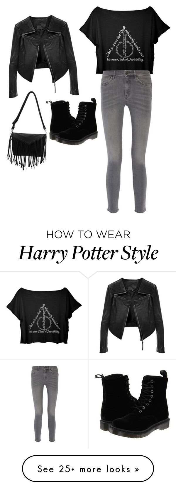 """""""Night out with Harry Potter"""" by sydneyscout11 on Polyvore featuring Linea Pelle, MiH Jeans and Dr. Martens"""