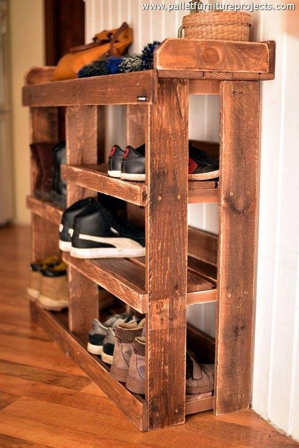 Schuhregal Aus Recycelten Paletten In 2020 Pallet Furniture Shoe