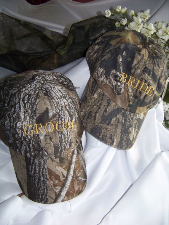 Mossy Oak Breakup Camoflauge Bride and Groom Wedding caps hats Cute for couple Bride's has veil.  Embroidered on Etsy, $15.00