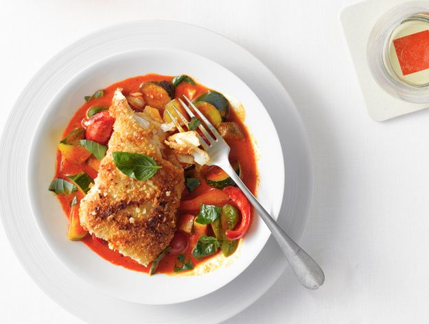 Almond-Crusted Halibut with Vegetable Curry | 51 Healthy Weeknight Dinners That'll Make You Feel Great
