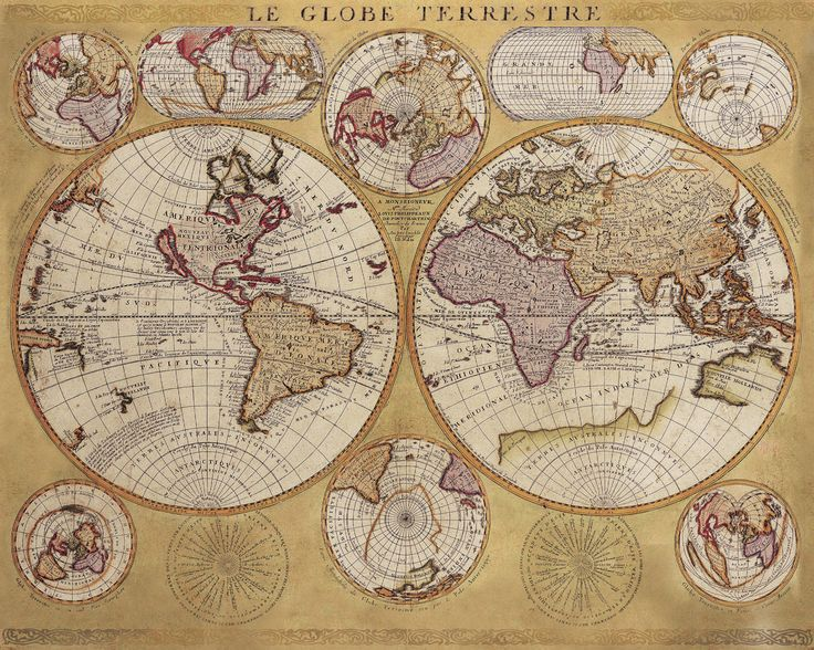 Historic World 1690 - Le Globe Terrestre - Giclee Wall Map