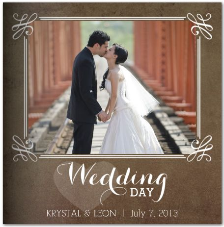 Rustic Wedding Photo Book. Stop at end of aisle after the wedding with all the family looking and pause for a kiss or raise arms I joy!