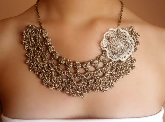 Collar crochet collar dorado gargantilla crochet Diseño original de DIDIcrochet…