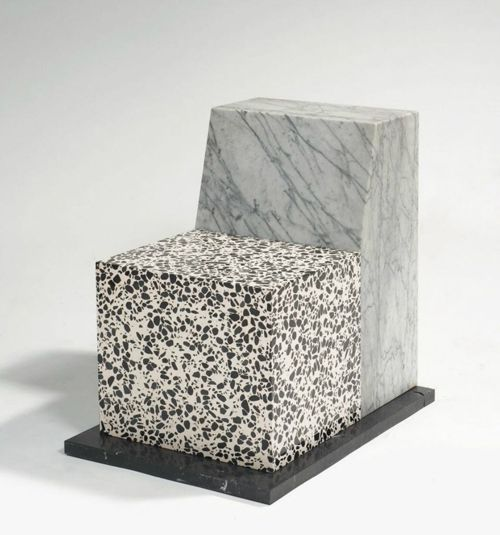 "ettore sottsass (1917 -2007) see ""seating near enigma"" - 1987 docket white marble veined gray, sitting blancinclusions black terrazzo terrac..."