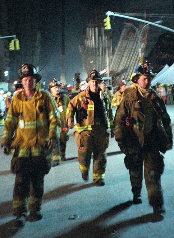 Firefighters and rescue workers worked 24/7 to save lives in lower Manhattan. More than 300 firefighters - in some cases, entire stations - were killed in the collapse of the World Trade Center.