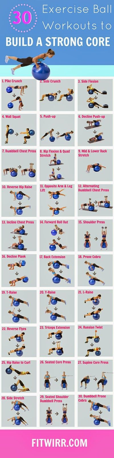 Would you like to build a strong core? You can do it using the exercise ball as shown in the pin... If you like it, repin it :-) #FastSimpleFitness