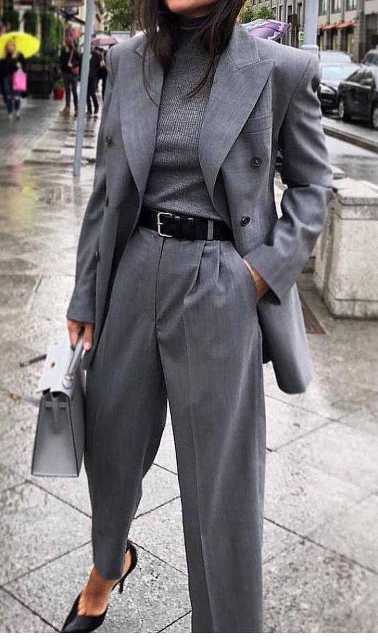 Grey trousers – floor length Blazers