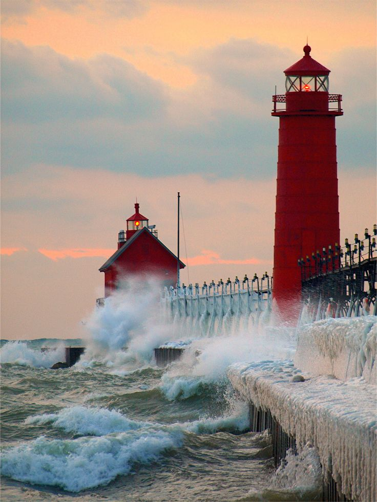 The Grand Haven Breakwater Lighthouse is located in the harbor of Grand Haven, Michigan. Grand Haven Lighthouses are two different lighthouses on the south pier of the channel where Grand River comes in to Lake Michigan. A lighthouse was first established there in 1839.