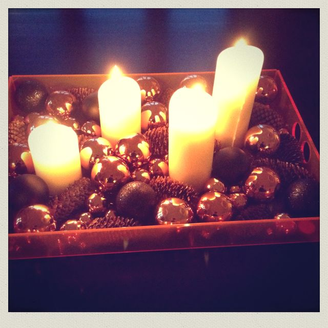 """Neon living tray with cobber christmas baubles - bought very cheap at """"Søstrene Grene""""..."""