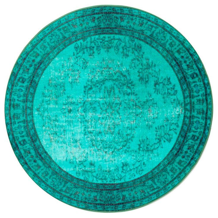 Vintage Inspired Overdyed Turquoise 5 ft. 5 in. x 5 ft. 5 in. Round Area Rug-DIRE1D-55055R - The Home Depot