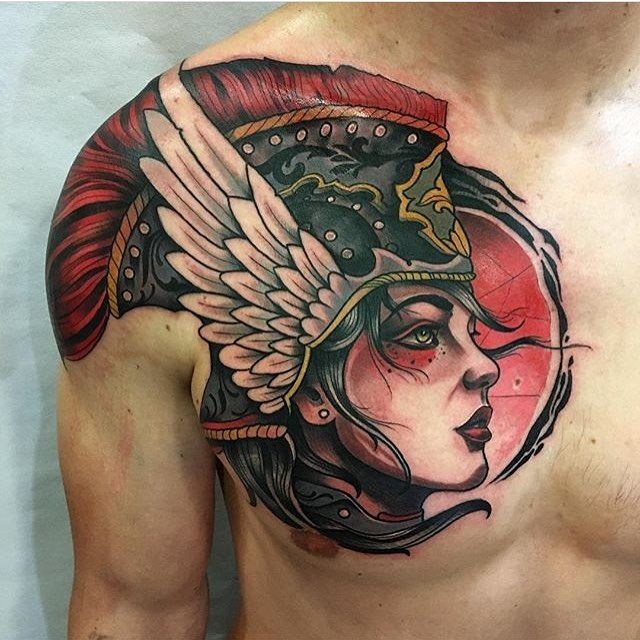 Girl warrior tattoo on man's chest