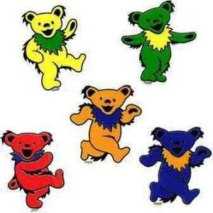 """Grateful Dead - Mini Dancing Bear Stickers - $1.50 each The dancing bear is a classic Grateful Dead image. This 2"""" tall sticker comes in 6 different colors. Sold individually. Official Grateful Dead merchandise. Put them on your ipad, iphone, or wherever you want to add a cute little dancing bear!"""