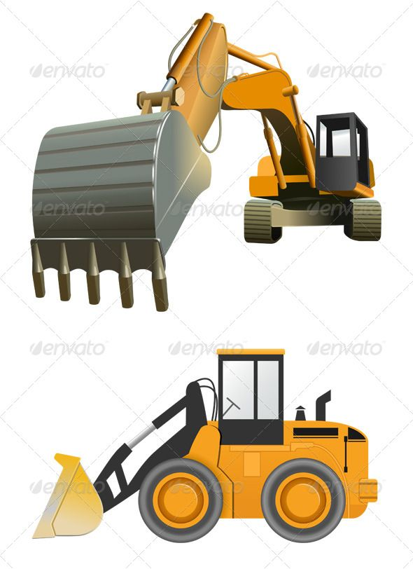 Construction Machines  #GraphicRiver         Vector construction Machines on…
