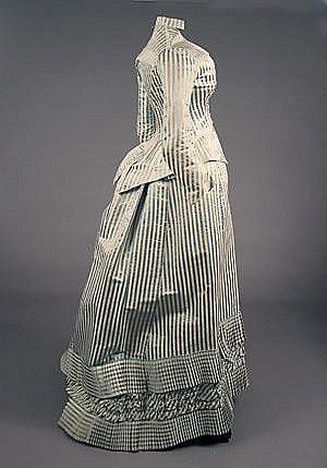 ravensquiffles: Striped dress by Pingat 1880s Charles Whitaker via Invaluable