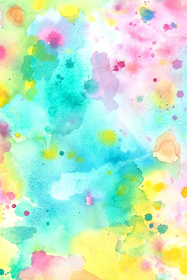 Spring Watercolors by gypseeart.  Bright watercolor splatters in turquoise, blue, pink, mauve, yellow, and green.  Painterly abstract watercolor on fabric, wallpaper, and gift wrap.