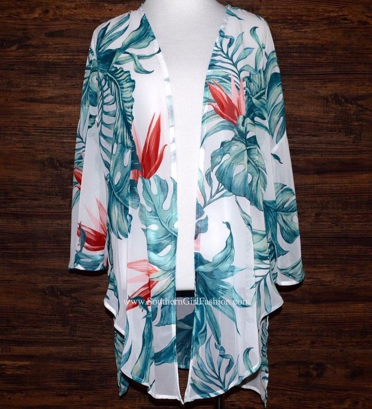 "SOUTHERN GIRL FASHION $58 ""Printed Kimono Tie Front Hawaiian Cape"" - Sizes S, L #Boutique #Wrap #Casual"