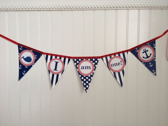 I am One Nautical Birthday Baby's First by PoshPaperPartiesCo