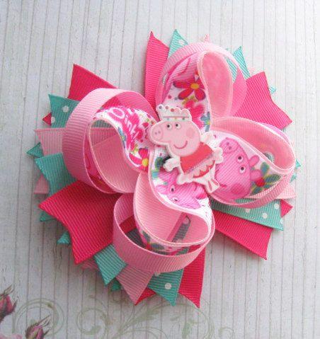 Peppa Pig hair bow Peppa Pig Party Peppa Pig Outfit Peppa pig birthday Loopy bow…