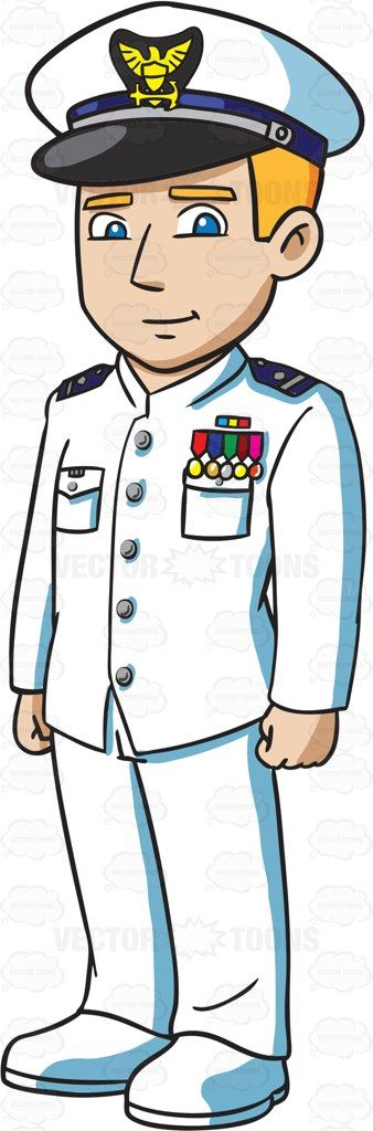 A US Coast Guard Officer wearing A Dinner Dress White Uniform #cartoon #clipart #vector #vectortoons #stockimage #stockart #art