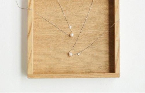 925 Sterling Silver Dainty Pearl and Star, Pearl and Triangle Geometri