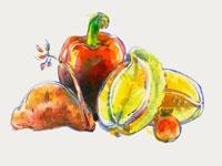 Red Capsicum, Kumara, Carambola, and Passionfruit