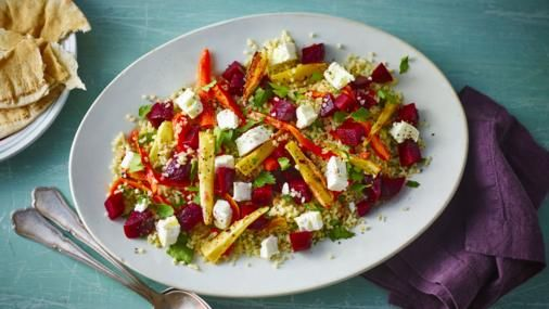 This luxurious salad makes a great light lunch or summer supper for the family. Serve with warm flatbreads.   This salad with flatbreads when served as three portions provides 751 kcal, 25g protein, 112g carbohydrate (of which 20g sugars), 23g fat (of which 8g saturates), 10g fibre and 2.2g salt per portion.
