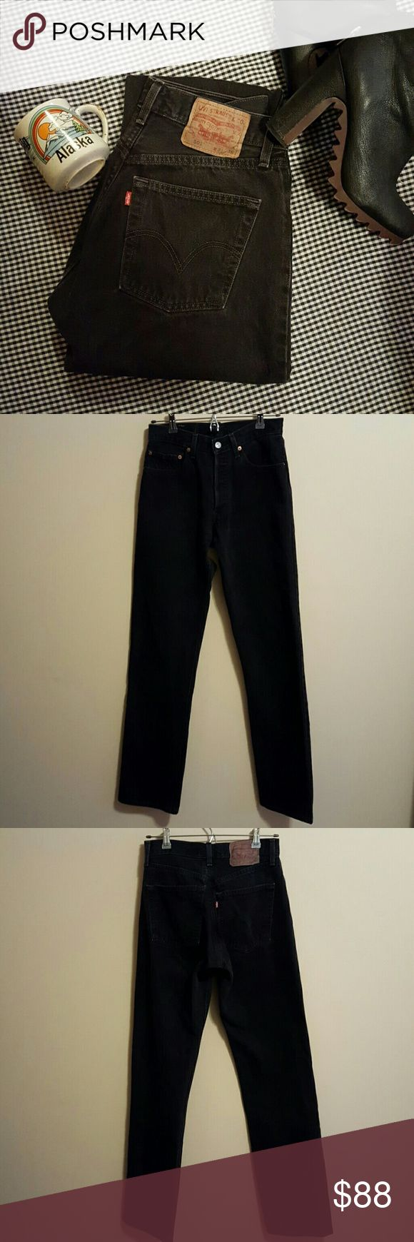 Vintage Levi's 501 Black Button Fly Jeans Vintage Levi's 501 90's black denim jeans with killer button fly. Vintage size 31 but fit more like a modern size 27/28 or size 6. Fantastic condition without any notable flaws. They are quite long and could be cut to desired length.   Measurements laying flat in inches  Waist 13.5-14 Hips 18.5 Front Rise 10.5 Inseam 34 Leg Opening 8 Vintage Jeans
