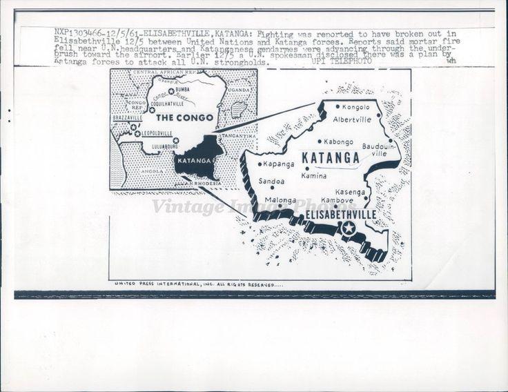1961 Photo Map Elisabethville Katanga Fighting United Nations Forces Military  | eBay