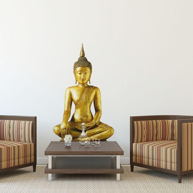 Vinilo pared Buddha statue, Bangkok. Este Buda simboliza resistencia en la lucha contra las fuerzas del mal. Una pieza mística además de decorativa