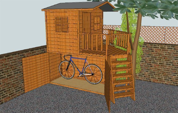 Playhouse Over Shed Design Google Search Toddlerplayhouse Play Houses Bike Shed Shed Playhouse