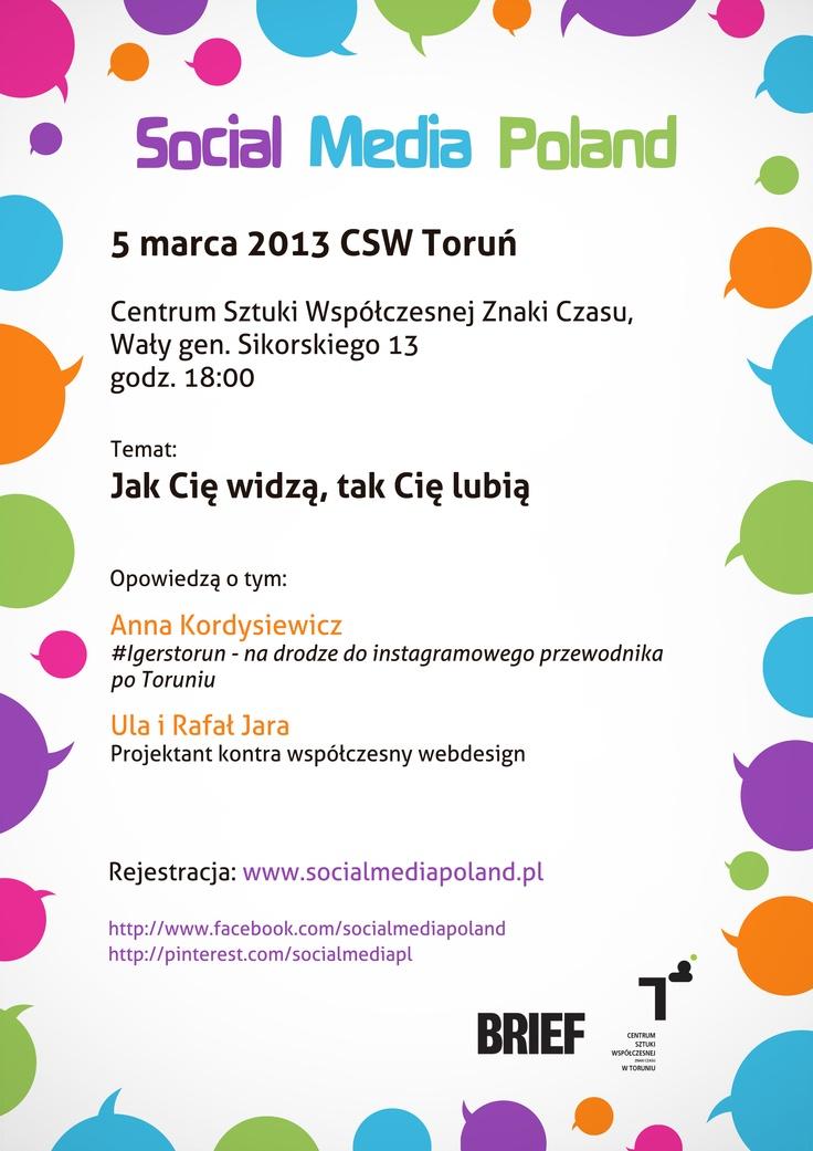 Jutro meetup w CSW Toruń! Kto już wie, że się wybierze? http://www.meetup.com/Social-Media-Poland/events/105835002/