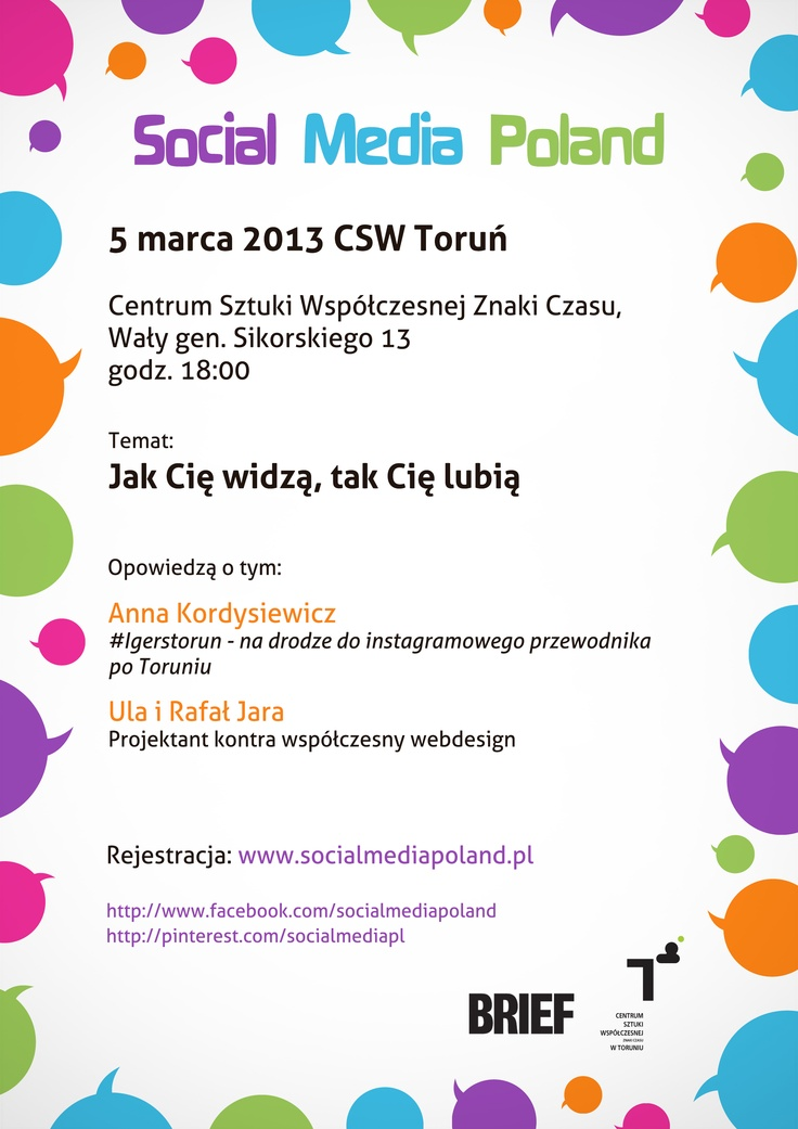 Kolejny toruński meetup przed nami – zapraszamy Was do CSW Toruń już 5 marca! Dołączcie do wydarzenia! http://www.meetup.com/Social-Media-Poland/events/105835002/