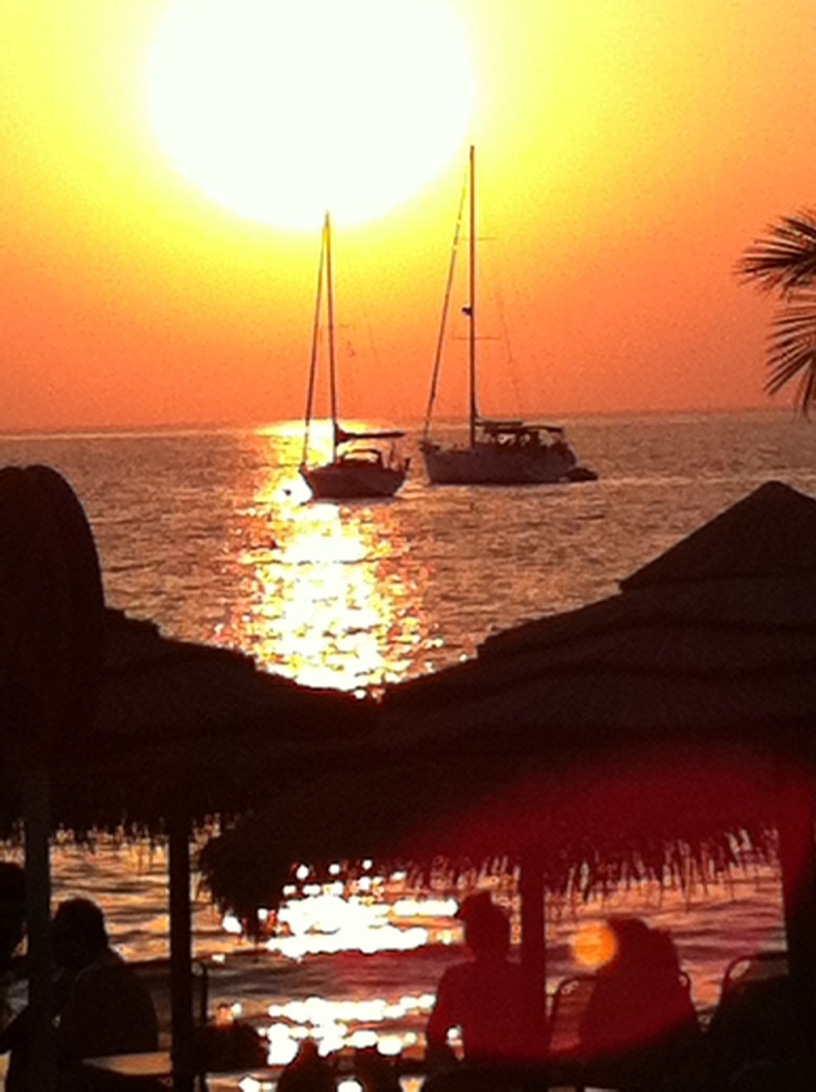 Sunset at Kini beach, Syros island, Greece
