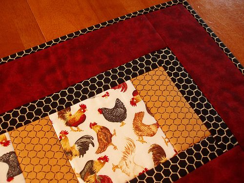 quilt as you go table runner.  Quick and easy. My kind of project!