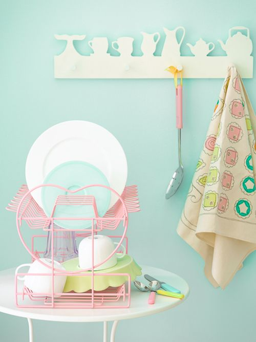 Perfect pastel kitchen accessories. I love the pink dish rack, the pink ladel and the pastel cutlery! Photographer Max Attenborough - Heart Handmade uk