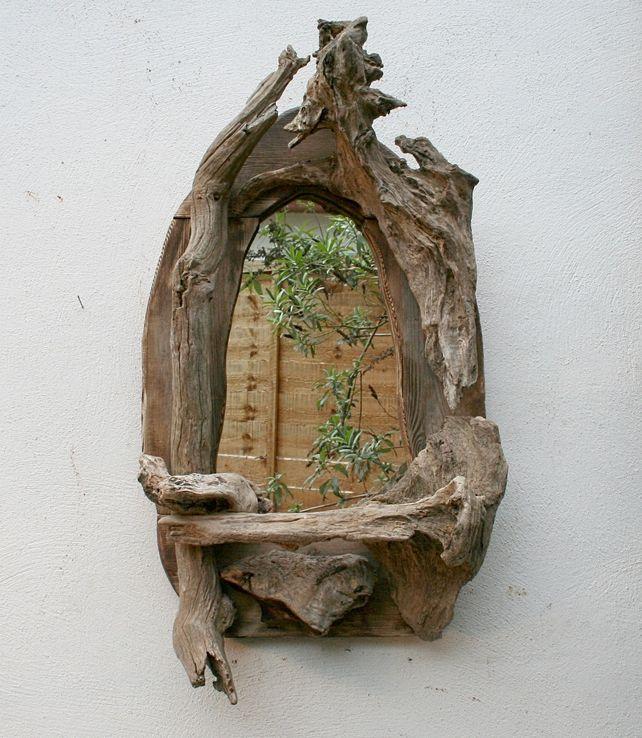 Driftwood mirror for the home pinterest bois for Miroir bois brut