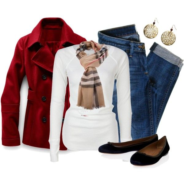 Casual Outfit: Dreams Closet, Complete Outfits, Style, Burberry Scarfs, Weekend Outfits, Fashionista Trends, Red Coats Outfits, Casual Outfits, Untitl 322
