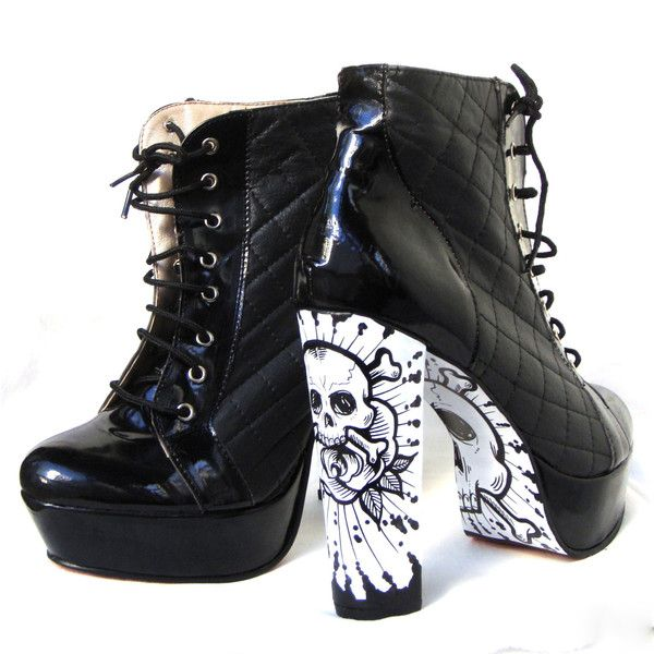 Lace Up Platform Booties Shoes- Skulls, Punk Rock Style ($99) ❤ liked on Polyvore