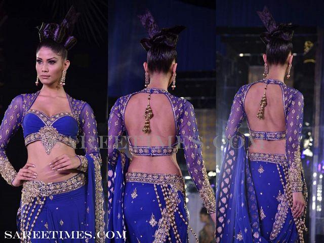 Neeta Lulla's full sleeves blouse, a blue embroided net saree  #india #saree #blue love the back