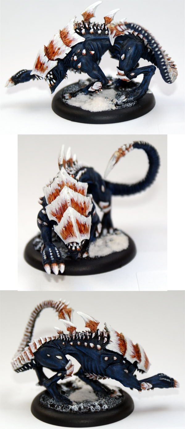 interesting work in de-boring the carapace.  CoolMiniOrNot - Raek Legion of Everblight by Knightofni