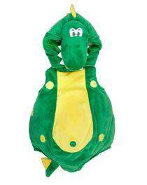 Costume di Carnevale da drago, verde con pancia cresta e pois gialli, in morb...
